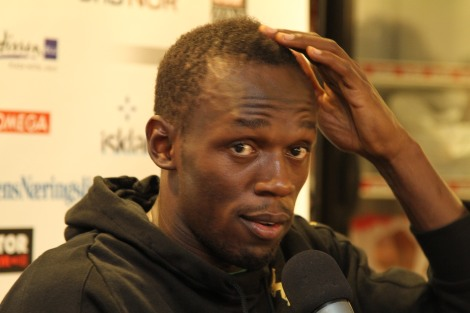 Sprinter Usain Bolt takes a question from Ourmaninstockholm about Manchester United in good humour, Oslo, June 2011